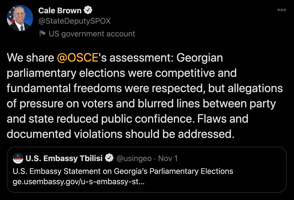 Cale Brown About Georgian Elections: Flaws and Documented Violations Should Be Addressed