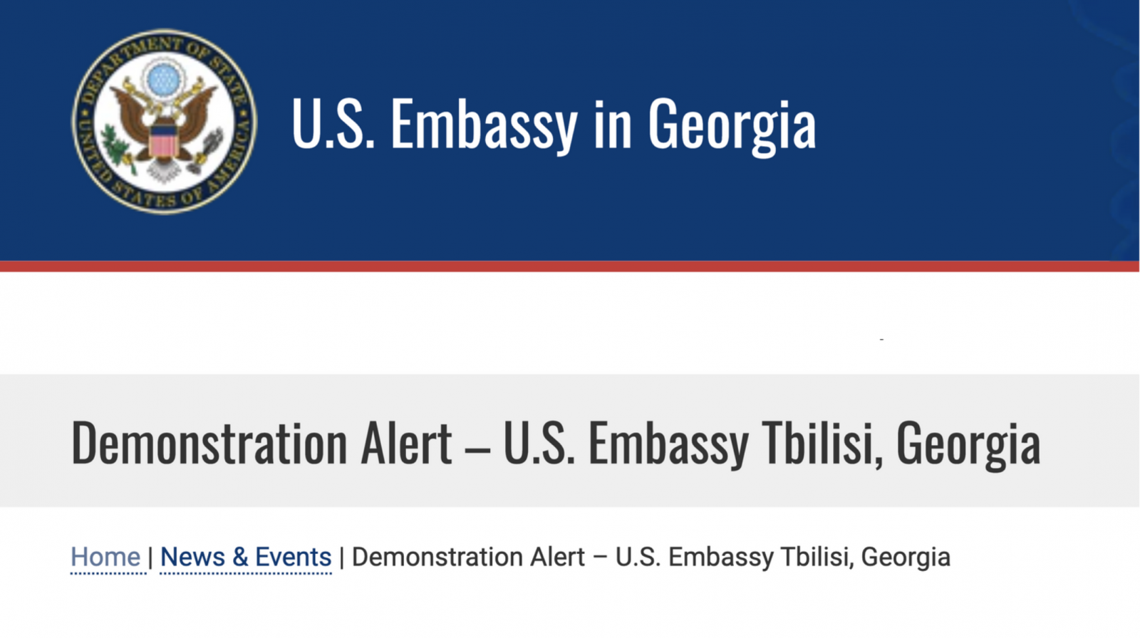 The U.S. Embassy Tbilisi Issues a Demonstration Alert
