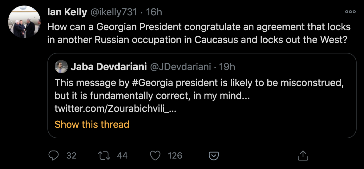 Former US Ambassador to Georgia Ian Kelly Reacts to the Tweet of the President of Georgia Salome Zourabichvili