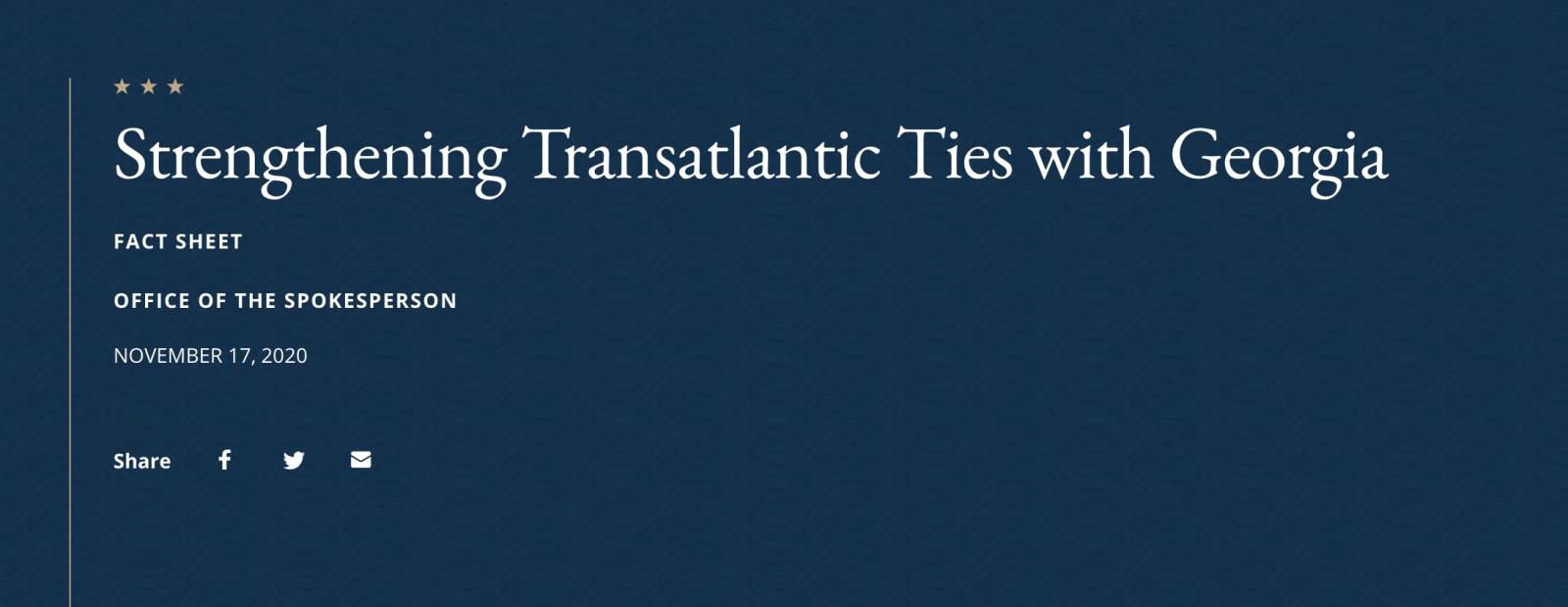 Department of State: U.S. Supports Georgia in Strengthening Transatlantic Ties