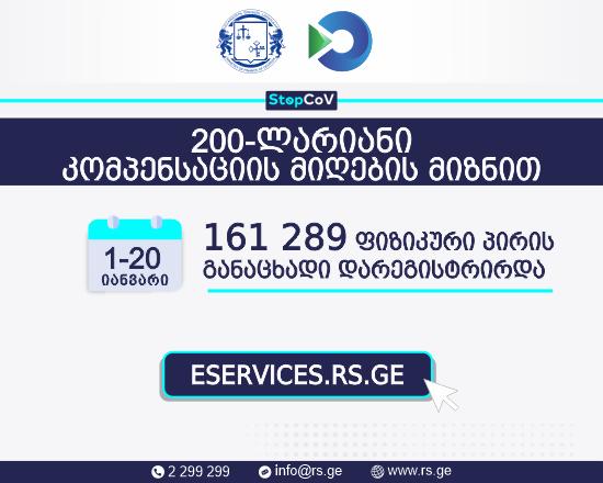 200 ლარიანი დახმარების მისაღებად მონაცემთა ბაზაში 161 289 განაცხადი დარეგისტრირდა